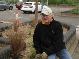 Colin takes a break from the planting at the Park and Ride in May
